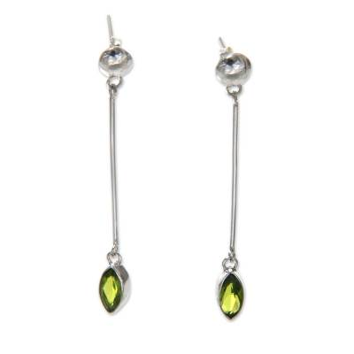 Artisan Crafted Balinese Silver Earrings with Peridot