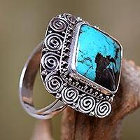Turquoise cocktail ring, 'Celuk Treasure' - Artisan Crafted Sterling Silver Ring with Genuine Turquoise