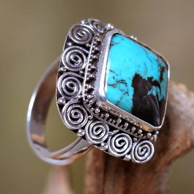 Turquoise cocktail ring, Celuk Treasure