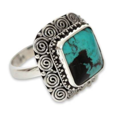 Artisan Crafted Sterling Silver Ring with Genuine Turquoise