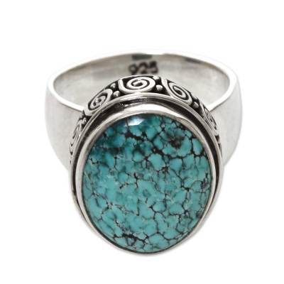 Handcrafted Balinese Silver Natural Turquoise Ring