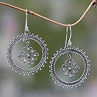 Sterling silver dangle earrings, 'Water Lily' - Circular Flower Theme Bali Silver Dangle Earrings