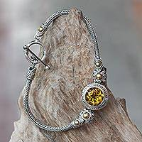 Gold accent citrine braided bracelet, 'Tenganan Warmth' - Gold Accent Braided Sterling Bracelet with Citrine