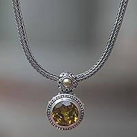 Gold accent citrine pendant necklace, 'Tenganan Warmth' - Gold Accent Sterling Pendant Necklace with Citrine