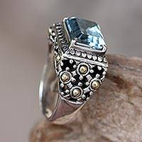 Gold accent blue topaz cocktail ring, Catch the Sky