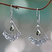 Peridot chandelier earrings, 'Fabulously Feminine' - Sterling Silver Chandelier Earrings with Peridot