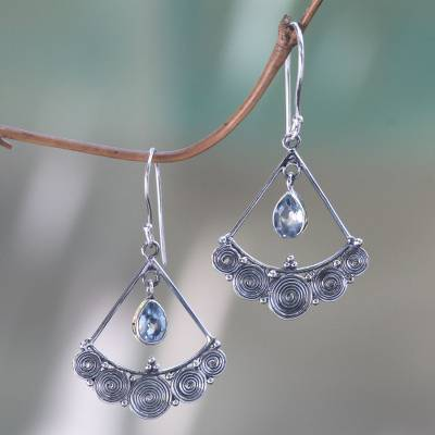 Blue topaz chandelier earrings, 'Fabulously Feminine' - Artisan Crafted Blue Topaz and Sterling Silver Earrings