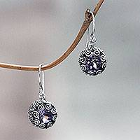 Amethyst dangle earrings, 'Sanur Moon' - Bali Sterling Silver Artisan Crafted Amethyst Earrings