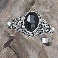 Cultured pearl and onyx floral cuff bracelet, 'Frangipani Treasures' - Sterling Silver Bracelet with Onyx and Pearl Floral Jewelry