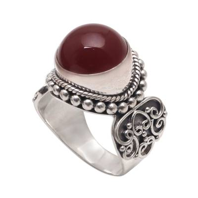 Artisan Crafted Carnelian and Sterling Silver Ring from Bali