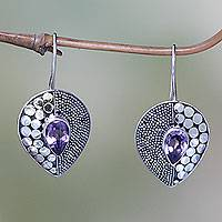 Amethyst drop earrings, 'Violet Sincerity' - Amethyst and Sterling Silver Earrings from Bali