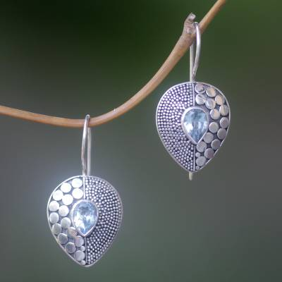 Blue topaz drop earrings, Azure Sincerity
