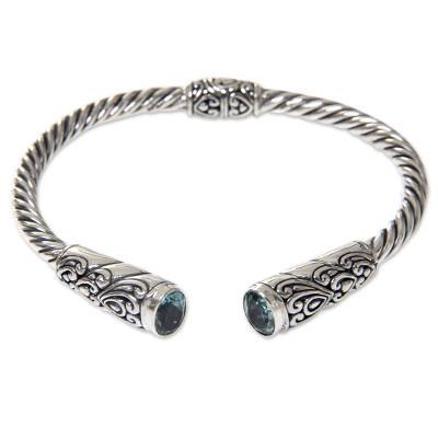 Blue Topaz on Sterling Silver Hinged Cuff Bracelet from Bali