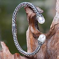 Cultured pearl cuff bracelet, 'Cotton Blossom' - Silvery White Pearls on Sterling Silver Hinged Cuff Bracelet