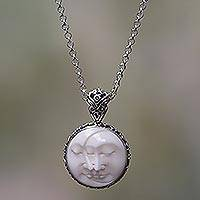 Sterling silver pendant necklace, 'Moon Romancing' - Balinese Handcrafted Silver Necklace with Bone Inlay