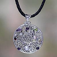 Multi-gemstone pendant necklace, 'Silver Gourami' - Handmade Pearl and Silver Necklace Four Other Faceted Gems
