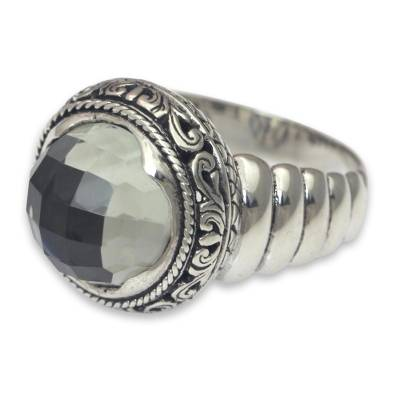 Modern Balinese Silver Ring with Faceted Prasiolite