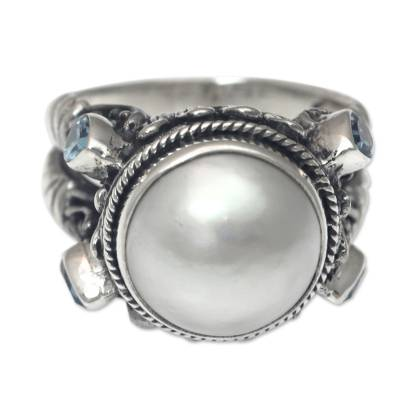 Sterling Silver Ring with Mabe Pearl and Blue Topaz