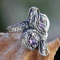 Amethyst cocktail ring, 'Noble Dragons' - Sterling Silver Dragon Jewelry Ring with Amethysts