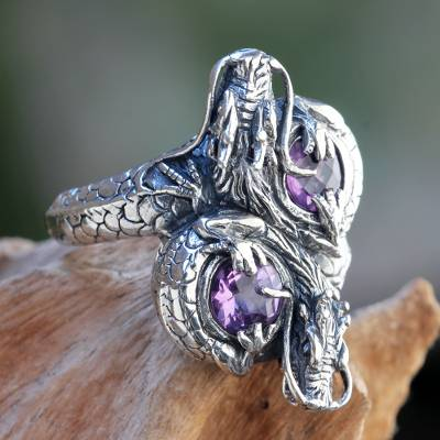 Sterling Silver Dragon Jewelry Ring with Amethysts