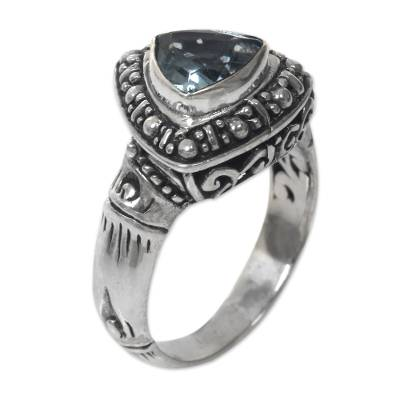 Blue Topaz on Sterling Silver Ring Artisan Crafted Jewelry