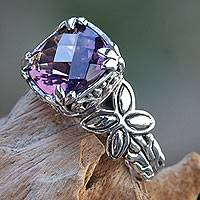 Amethyst flower ring, 'Nirvana' - Sterling Silver Floral Jewelry Ring with 3.5-carat Amethyst