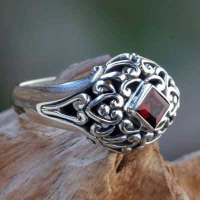 Garnet dome ring, 'Treasured Heart' - Garnet Dome Ring Sterling Silver Artisan Crafted Jewelry