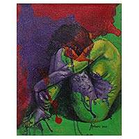 'Soul Mate' - Green Purple Red Artistic Nude Painting Signed Fine Art