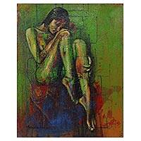 'Love' - Woman in Green Artistic Nude Signed Painting from Bali