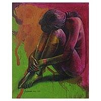 'Don't Hate Love' - Woman Artistic Nude Signed Fine Arts Painting from Bali