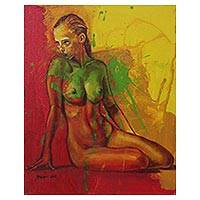 'Temperamental Woman' - Red Green Yellow Artistic Nude Painting Signed Fine Art