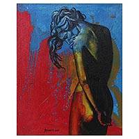 'Woman in Love' - Blue and Red Artistic Nude Painting Signed Fine Art