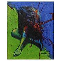 'Love is Not the Main Thing' - Signed Original Blue and Green Figure Study Painting