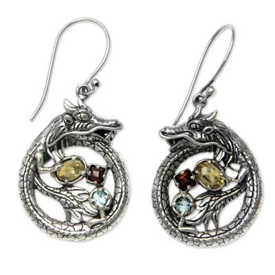 Sterling Silver Dragon Earrings Garnet Citrine and Topaz