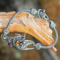 Multi-gemstone pendant bracelet, 'Dragon's Prize' - Silver and Multi Gemstone Handcrafted Dragon Bracelet