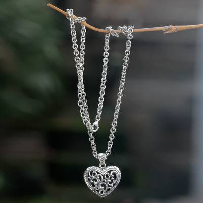 Sterling silver pendant necklace, 'Jungle Heart' - Original Sterling Silver Handcrafted Heart Theme Necklace
