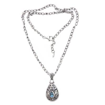 Artisan Crafted Floral Silver Necklace with Blue Topaz