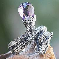 Amethyst cocktail ring, 'Royal Dragon'