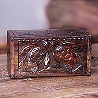 Wood box, 'Balinese Sea Turtles' - Hand Carved Wood Box with Turtle Relief Sculpture Lid