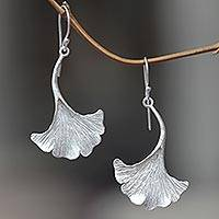 Sterling silver dangle earrings, 'Oyster Mushroom' - Mushroom-shaped Sterling Silver Artisan Crafted Earrings