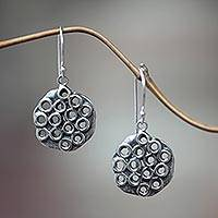Sterling silver dangle earrings, 'Honeycombs' - Sterling Silver Earrings with Rugged Aged Finish