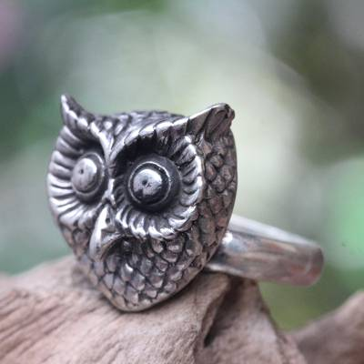 mens necklace silver chain - Silver Owl Theme Balinese Artisan Crafted Ring