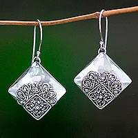 Sterling silver dangle earrings, 'Besakih Garden' - Modern Balinese Handcrafted Sterling Silver Earrings