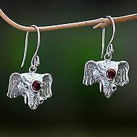 Garnet dangle earrings, 'Elephant Queen' - Elephant Theme Hand Crafted Silver and Garnet Earrings