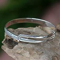 Sterling silver bangle bracelet, 'Tender Embrace'