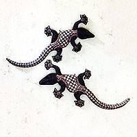 Wood batik wall sculptures, 'Playful Geckos' (pair) - Batik on Wood Gecko Wall Sculptures Artisan Crafted (Pair)