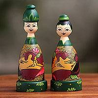 Mahogany wood toothpick holders, 'Jogja Couple' (pair) - Hand Painted Bride and Groom Wood Toothpick Holders (Pair)