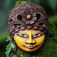 Wood mask, 'Sinden' - Artisan Crafted Wood Wall Mask of Classic Javanese Singer