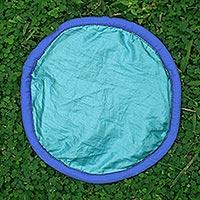 Parachute flying disc, 'Java Blues' - Artisan Crafted Blue Flying Disc of Nylon Parachute Silk