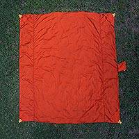 Parachute beach blanket, 'Sanur Orange' - Artisan Crafted Orange Beach Blanket of Nylon Parachute Silk